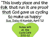 A selection of message left about the Cycle Cafe during 2011 -2012 season