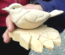 Whittling Wildlife in Wood with David Harter at Greystoke Cycle Cafe  - a beginner student piece