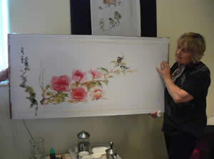 Irene with one of her demos that she auctions off at the end of the day for charity. .. Flowers in Far Eastern Brush Painting with Irene Sanderson at Greystoke