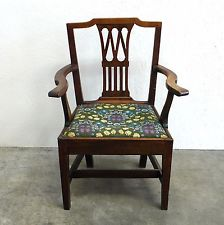 Antique Georgian Pierced Splat Back Carver Chair with Drop-In Seat ( 259s)
